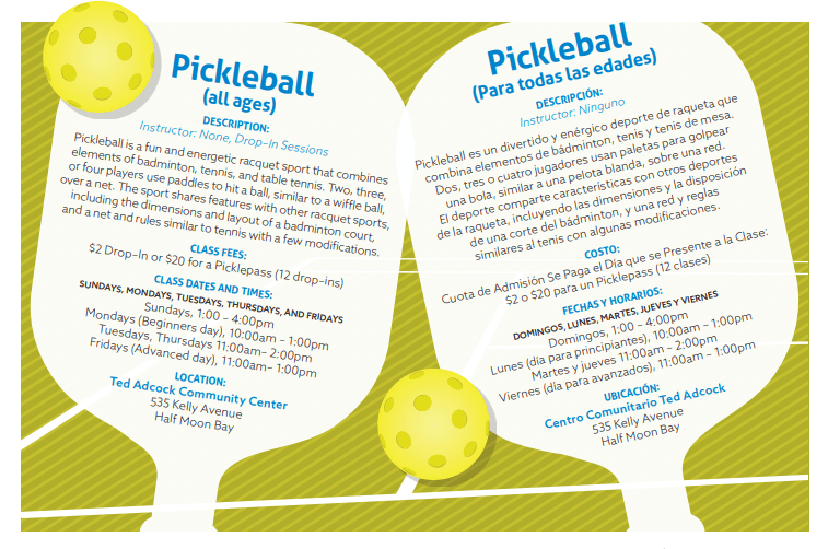 Pickleball Schedule 2019